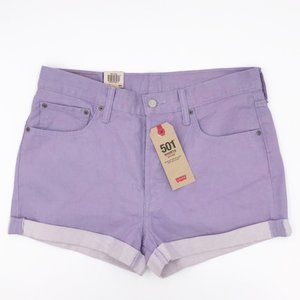 NWT Levi's 501 Mid-Rise Denim Shorts Purple 32